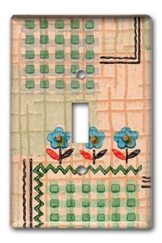 Cottage Floral 1920's Vintage Wallpaper Switch Plate