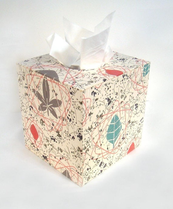 Mid Century Atomic Floral 1950's Vintage Wallpaper Tissue Box Cover