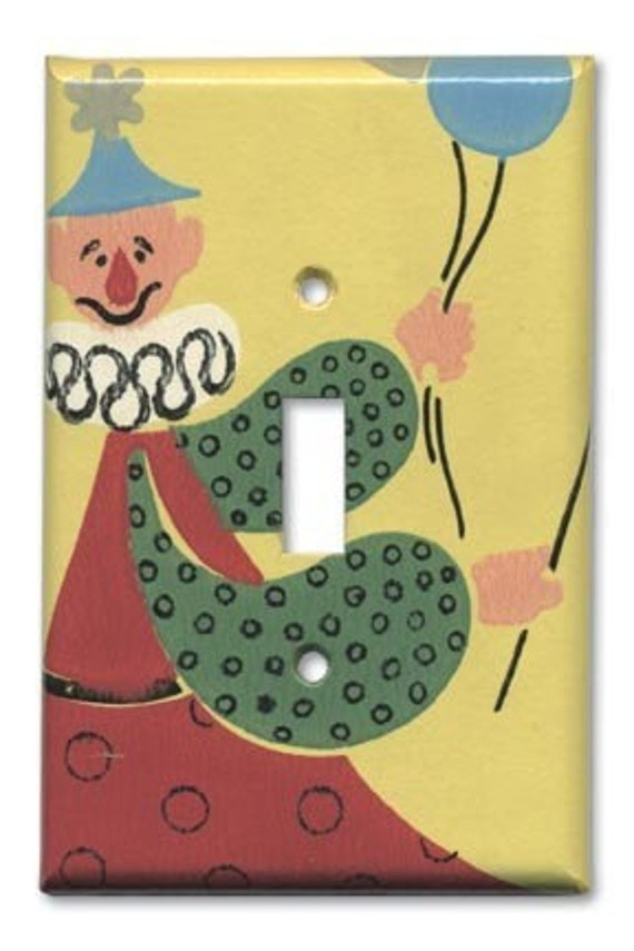 Circus Clown 1940's Vintage Wallpaper Switch Plate