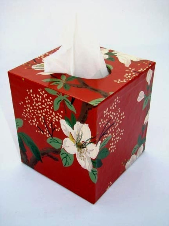 Asian Dogwood Floral 1950's Vintage Wallpaper Tissue Box Cover