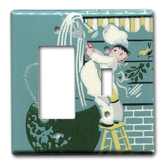 Too many Cooks 1950's Vintage Wallpaper Double Switch GFI Plate