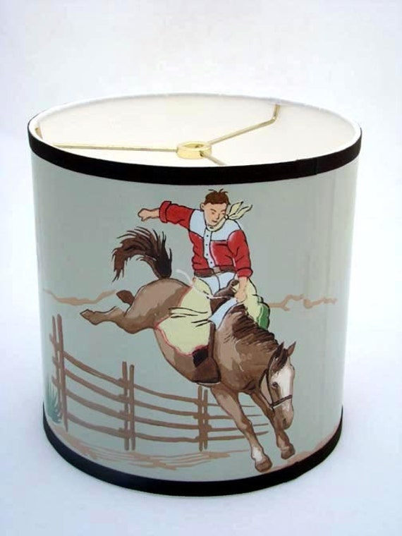 Vintage Wallpaper Drum Shade 1940's Rope and Ride Cowboy