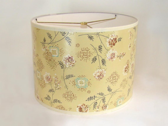 Vintage Wallpaper Drum Shade 1950's Shabby Floral