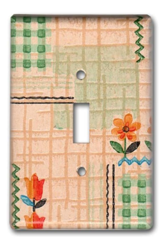Cottage Floral 1920's Antique Wallpaper Switch Plate