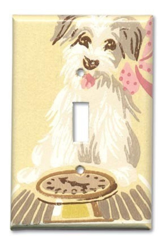 Shaggy Dog Weighs In 1950's Vintage Wallpaper Switch Plate