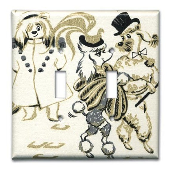 Up Town Poodles 1950's Vintage Wallpaper Double Switch Plate