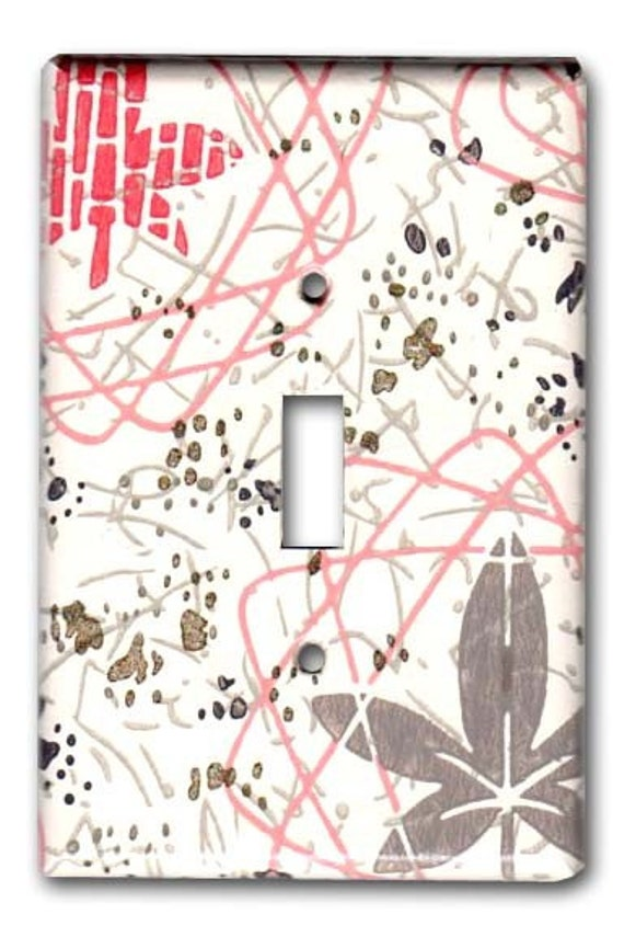 Atomic Mid Century Floral 1950s Vintage Wallpaper Switch Plate