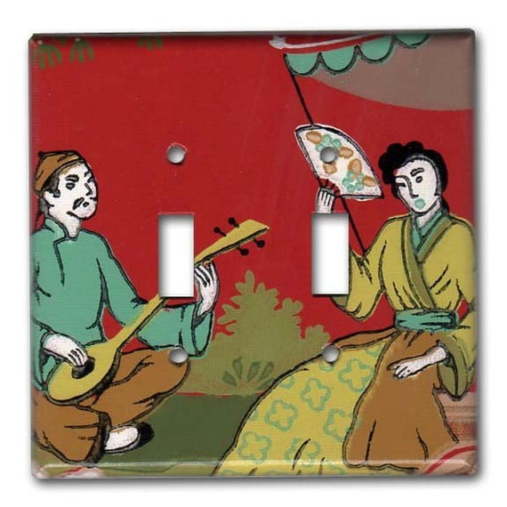 Geisha Shamisen Serenade 1950's Vintage Wallpaper Double Switch Plate