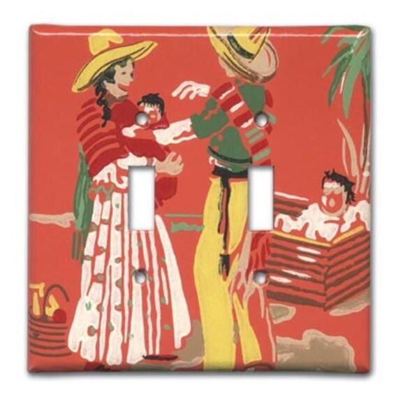 Nuevo Bebe Mexicano 1950s Vintage Wallpaper Switch Plate