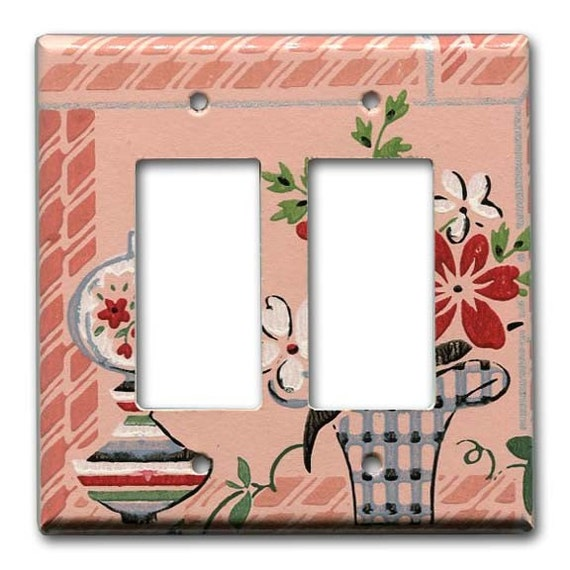 Margie's House 1940's Vintage Wallpaper Double Decora Switch Plate