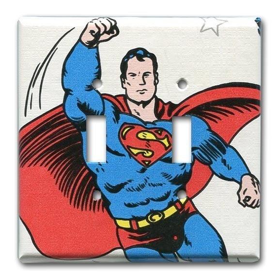 Superman DC Comics 1970's Vintage Wallpaper Double Switch
