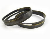 Sliver Bangles in Oxidized Copper with 24k Gold Leaf