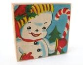 Snowman - Holiday ART BLOCK - 1940's Christmas Card Illustration - FREE Shipping