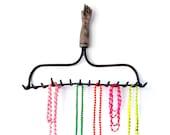Hand-y Rake - ASSEMBLAGE - Jewelry Organizer Display OR Key Rack