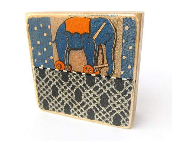 Elephant Toy - Collage ART BLOCK - Original Mixed Media Collage
