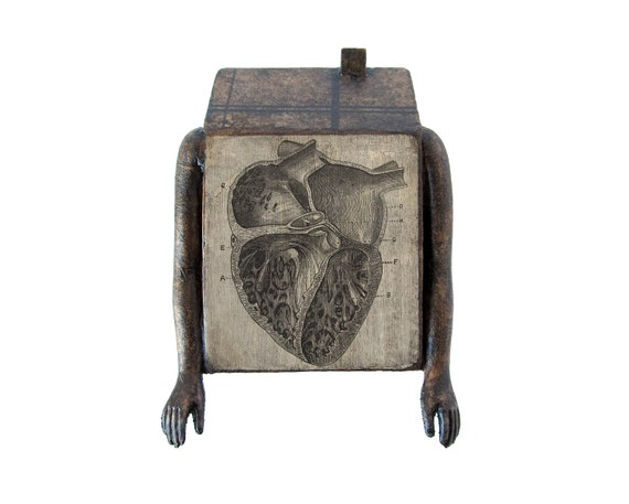 Doll House no 374 (with heart) - Original Mixed Media Assemblage