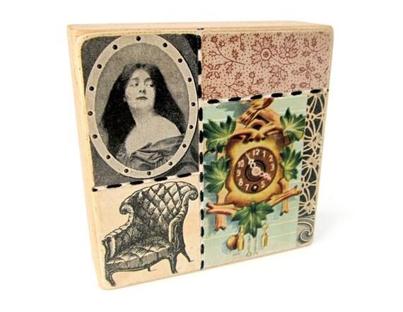 Cameo - Collage ART BLOCK - Original Mixed Media Collage
