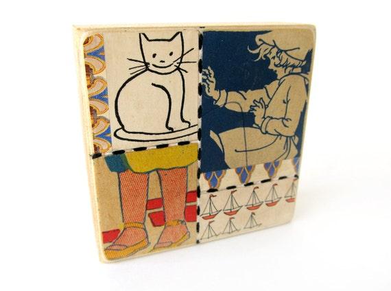 Cat - Collage ART BLOCK - Original Mixed Media Collage