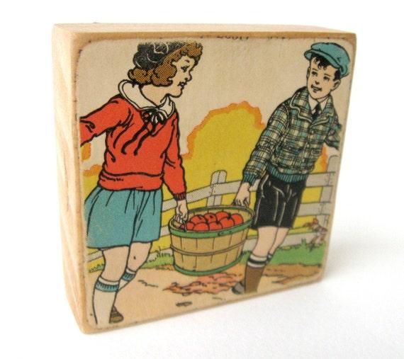 Apple Harvest - EPHEMERA BLOCK - 1936 Children's Reader Illustration