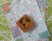 Map Paper and Globe Rubber Stamp