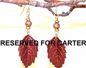 RESERVED FOR CARTER Red Wine Mini Leaf Earrings