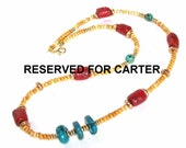 RESERVED FOR CARTER Blood Coral Turquoise and Goldstone Faux Necklace