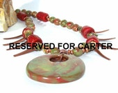 RESERVED FOR CARTER Faux Blood Coral and Unakite Pendant Necklace