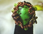 Spring Green Dragonfly Ring-Copper And Green Turquoise-Size 7-Copper, Turquoise, Dragonfly, One Of A Kind