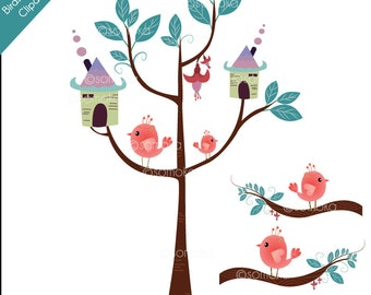 BT02 Birds House and Trees Clipart Set