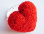 Sweetheart Heart Ring - Bright Red Fuzzy Felted Wool Ring with Gift Bag
