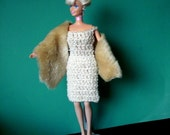 Barbie Crocheted Wiggle Dress Feaux Fur Stole and Shoes