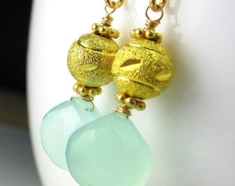 Chalcedony on Vermeil Ear Wires