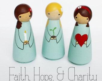 Faith, Hope, and Charity -- Hand-painted Peg Dolls
