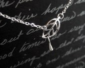 leaf with dew - dainty sterling silver necklace