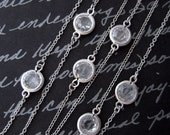 "36"" super long icy necklace - sterling silver faceted clear cz bezel necklace"