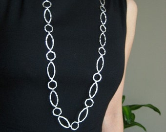 super long links necklace - sterling silver hammered linked chain necklace
