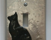 Black Cat Silhouette Silver Toggle Switch Cover Plate Toggle