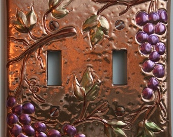 Double Light Switch Plate Copper Grapes