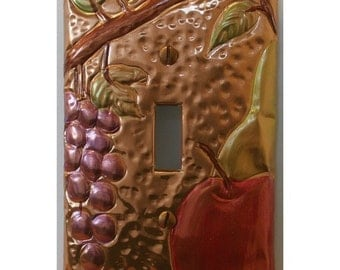 Copper Grape and Apple Embossed Switch Plate