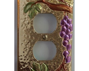 Tuscan Design Brass Grape Outlet Plate