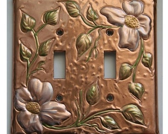 Copper Double Switch Plate Cover Flower Design