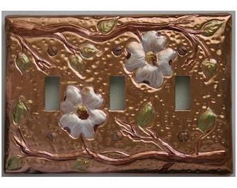 Flowering Dogwood Copper Triple Light Switch Plate