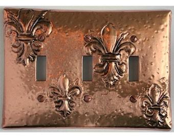 Gorgeous Fleur de Lis Copper Triple Switch Plate
