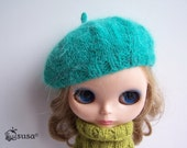 Babydoll Longhair Angola Wool Green Beret for Blythe Doll