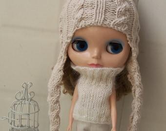 Babydoll Long Flap Pom-Pom Hat for Blythe Doll