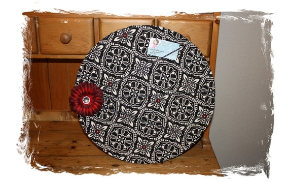 RESERVED for AMANDA Custom Fabric Covered Cork Board 16.5 inch round