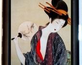 Geisha Woodblock Cigarette Case Business Card Holder Wallet Japan with Fan Japanese