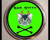 Kitty and Crossbones Bad Cat Pill box Pillbox Case Holder for Vitamins Drugs Birth Control Cute Kawaii Psychobilly Rockabilly Medicine Box