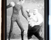 Fat Man and Skinny Man Boxing Sideshow Circus Cigarette Case Business Card Holder Wallet
