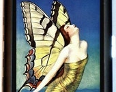 Butterfly Woman Cigarette Case or Business or ID Case Wallet